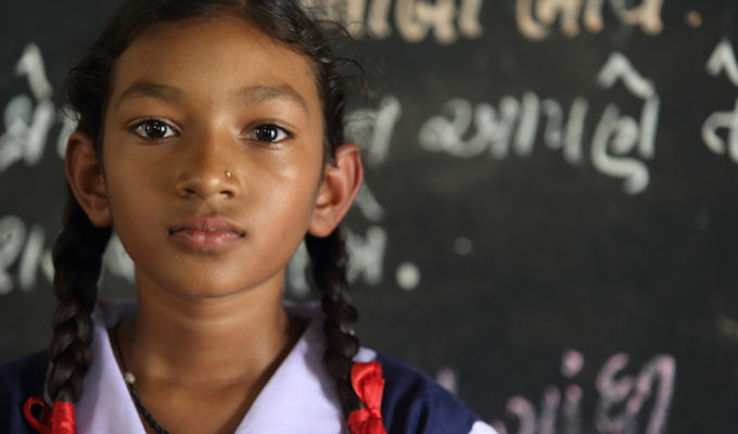 12-year-old Akshaya Patra beneficiary studying at our partner school in Hubli, Karnataka